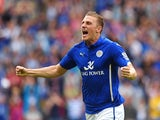 Chris Wood of Leicester City celebrates his goal during the Barclays Premier League match between Leicester City and Everton at the King Power Stadium on August 16, 2014