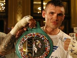 Martin Murray celebrates after wining a match against Ukraine's Max Bursak during their middleweight WBC boxing match, on June 21, 2014