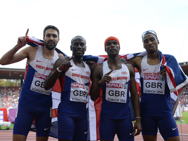 Martyn Rooney, Michael Bingham, Conrad Williams and Matthew Hudson-Smith celebrate after winning the Men's 4x400m final during the European Athletics Championships at the Letzigrund stadium in Zurich on August 17, 2014
