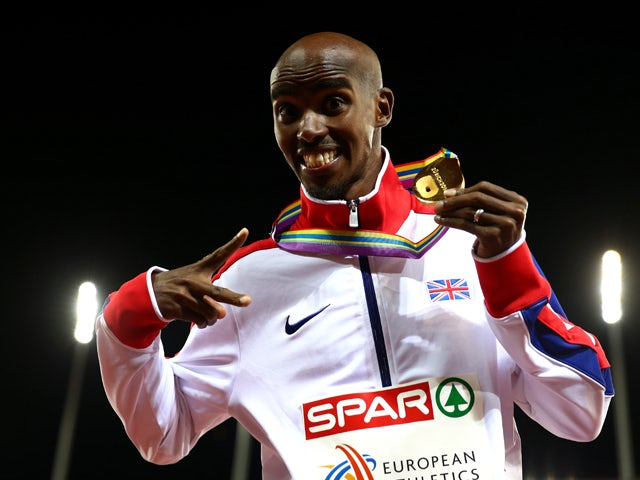 Gold medalist Mo Farah of Great Britain and Northern Ireland poses on the podium during the medal ceremony for the Men's 10,000 metres final during day two of the 22nd European Athletics Championships at Stadium Letzigrund on August 13, 2014