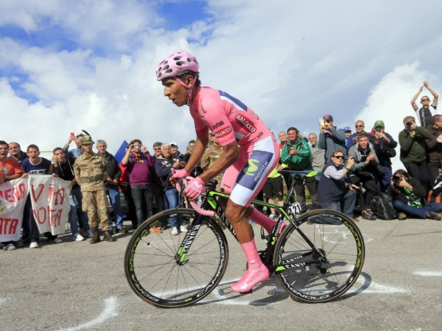 Colombian Nairo Quintana competes during the uphill time trial in the 19th stage of the 97th Giro d'Italia, Tour of Italy, cycling race from Bassano del Grappa to Cima Grappa on May 30, 2014