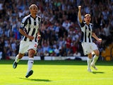 Peter Odemwingie of West Brom celebrates scoring their second goal from the penalty spot during the Barclays Premier League match between West Bromwich Albion and Liverpool at The Hawthorns on August 18, 2012