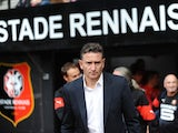 Rennes' French coach Philippe Montanier looks on prior to the French L1 football match Rennes vs Evian-Thonon Gaillard on August 16, 2014