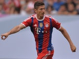 Bayern Munich's Polish striker Robert Lewandowski plays during the Telekom Cup final football match FC Bayern Munich vs Wolfsburg in the norhtern German city of Hamburg on July 27, 2014