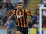 Robert Snodgrass of Hull City controls the ball during the UEFA Europa League third qualifying round: second leg match between Hull City and AS Trencin at KC Stadium on August 7, 2014