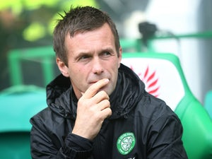 Celtic manager Ronny Delia looks on during the Scottish Premiership League Match between Celtic and Dundee United, at Celtic Park on August 16, 2014