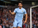 Sergio Aguero of Manchester City celebrates after scoring the second goal during the Barclays Premier League match between Manchester City and Swansea City at Etihad Stadium on August 15, 2011