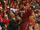 Head coach Marvin Menzies of the New Mexico State Aggies talks with Sim Bhullar #2 during the college basketball game against the Arizona Wildcats at McKale Center on December 11, 2013