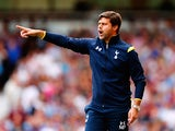 Mauricio Pochettino the Spurs manager directs his players during the Barclays Premier League match between West Ham United and Tottenham Hotspur at Boleyn Ground on August 16, 2014