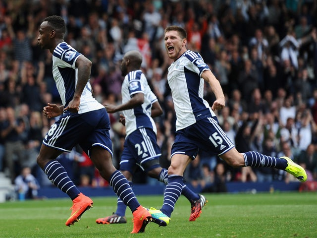 West Bromwich Albion player Saido Berahino celebrates his penalty conversion during the Barclays Premier League match between West Bromwich Albion and Sunderland at The Hawthorns on August 16, 2014