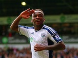 Saido Berahino of West Brom celebrates scoring his second goal during the Barclays Premier League match between West Bromwich Albion and Sunderland at The Hawthorns on August 16, 2014