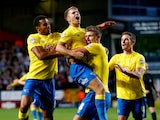 Jamie Ward of Derby County celebrates his equalising goal during the Sky Bet Championship match between Charlton Athletic and Derby County at The Valley on August 19, 2014