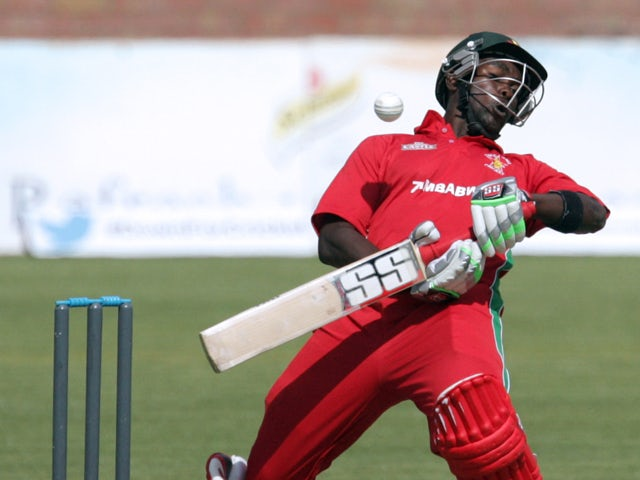 Zimbabwe's captain Elton Chigumbura in action during the third and final one-day international match between South Africa and Zimbabwe at the Queens Sports Club, on August 21, 2014