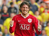 Manchester United's Gabriel Heinze celebrates after teammate Cristiano Ronaldo scored their second goal during their F.A Cup Semi Final football match against Watford at Aston Villa's Stadium, Villa Park, Birmingham, 14 April 2007