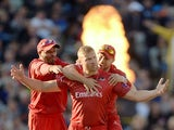 Andrew Flintoff of Lancashire celebrates with Ashwell Prince and Paul Horton after dismissing Ian Bell of Birmingham Bears during the Natwest T20 Blast final between Lancashire Lighting and Birmingham Bears at Edgbaston on August 23, 2014