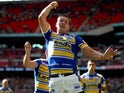 Danny McGuire of Leeds celebrates after scoring a try during the Tetley's Challenge Cup Final between Leeds Rhinos and Castleford Tigers at Wembley Stadium on August 23, 2014