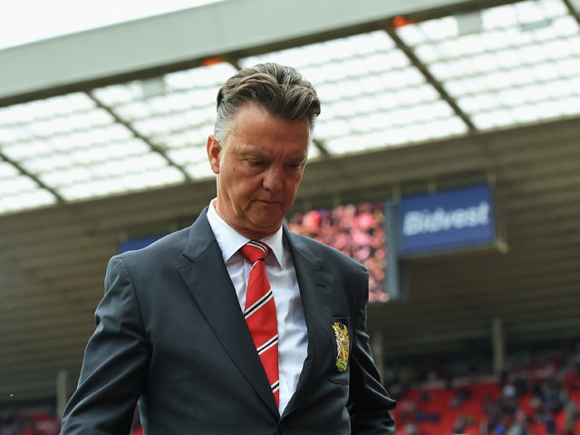 Manager Louis van Gaal of Manchester United walks to his seat prior to the Barclays Premier League match between Sunderland and Manchester United at Stadium of Light on August 24, 2014