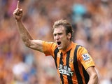 Nikica Jelavic of Hull City celebrates after scoring the first goal during the Barclays Premier League match between Hull City and Stoke City at the KC Stadium on August 24, 2014