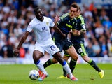 Souleymane Doukara of Leeds in action with Dean Whitehead of Middlesbrough during the Sky Bet Championship match between Leeds United and Middlesbrough at Elland Road on August 16, 2014