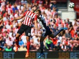 Graziano Pelle of Southampton and Craig Dawson of West Brom compete for the ball during the Barclays Premier League match between Southampton and West Bromwich Albion at St Mary's Stadium on August 23, 2014