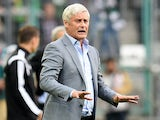 Stuttgart's head coach Armin Veh reacts during the German first division Bundesliga football match Borussia Moenchengladbach v VfB Stuttgart at Borussia Park Stadium in Moenchengladbach, Germany on August 24, 2014