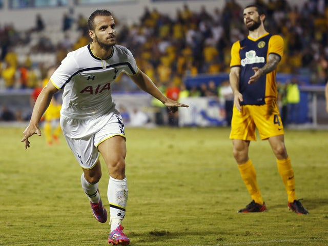 Roberto Soldado Rillo from Tottenham Hotspur celebrates scoring a goal during the AEL Limassol FC v Tottenham Hotspur - UEFA Europa League Qualifying Play-Off match on August 21, 2014