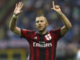 Jeremy Menez of AC Milan celebrates his goal during the Serie A match between AC Milan and SS Lazio at Stadio Giuseppe Meazza on August 31, 2014