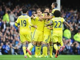 Branislav Ivanovic of Chelsea celebrates scoring his team's second goal with team mates during the Barclays Premier League match between Everton and Chelsea at Goodison Park on August 30, 2014