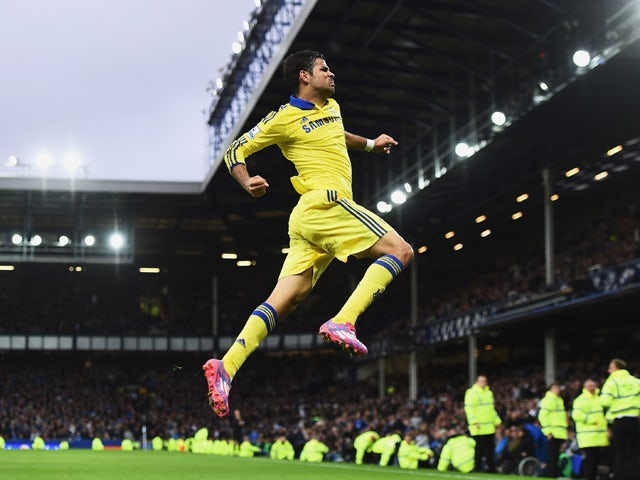 Diego Costa of Chelsea celebrates scoring his team's sixth goal during the Barclays Premier League match between Everton and Chelsea at Goodison Park on August 30, 2014