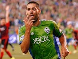 Clint Dempsey #2 of the Seattle Sounders reacts after scoring a goal in the second half against the Portland Timbers at CenturyLink Field on July 13, 2014
