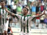 Federico Cartabia celebrates after scoring during the La liga match between Cordoba CF and RC Celta de Vigo at El Arcangel studium on August 30, 2014