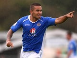 Jai Reason of Eastleigh celebrates after his free kick is scored by James Constable to make it 1-1 during the Vanarama Conference match between Eastleigh and Welling United at Silverlake Stadium on August 25, 2014