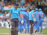England's Alastair Cook walks off after being stumped off the bowling of India's Ambati Rayudu during the third one-day international cricket match between England and India at Trent Bridge in Nottingham, central England on August 30, 2014