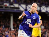 Steven Naismith of Everton celebrates scoring his team's second goal during the Barclays Premier League match between Everton and Chelsea at Goodison Park on August 30, 2014
