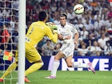 Gareth Bale has a shot at goal during Real Madrid's game with Cordoba on August 25, 2014