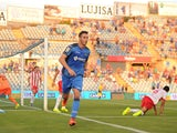Alvaro Vazquez of Getafe CF celebrates after scoring his team's opening goal during the La Liga match between Getafe CF and UD Almeria at Coliseum Alfonso Perez on August 29, 2014