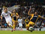 Harry Kane of Spurs scores their first goal during the UEFA Europa League Qualifying Play-Offs Round Second Leg match against AEL Limassol on August 28, 2014