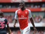 Joel Campbell of Arsenal celebrates scoring during the Emirates Cup match between Arsenal and Benfica at the Emirates Stadium on August 2, 2014