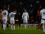 Luke Murphy of Leeds United reacts after being sent off during the Capital One Cup second round match between Bradford City and Leeds United at Coral Windows Stadium, Valley Parade on August 27, 2014