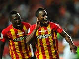 Lens French midefielder Wylan Cyprien celebrates after scoring during the French L1 football match Lens vs Reims on August 30, 2014