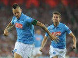 Napoli's Slovak midfielder Marek Hamsik celebrates after scoring during the UEFA Champions League play-off second leg football match Athletic Bilbao vs SSC Napoli at the San Mames stadium in Bilbao on August 27, 2014