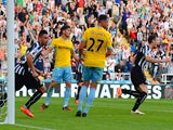 Michael Williamson of Newcastle United celebrates scoring their third goal during the Barclays Premier League match between Newcastle United and Crystal Palace at St James' Park on August 30, 2014