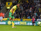 Lewis Grabban of Norwich City scores a goal during the Sky Bet Championship match between Norwich City and Blackburn Rovers at Carrow Road on August 19, 2014