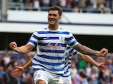 Charlie Austin of Queens Park Rangers celebrates scoring the opening goal for Queens Park Rangers during the Barclays Premier League match between Queens Park Rangers and Sunderland at Loftus Road on August 30, 2014