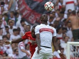 Stuttgart's defender Antonio Rudiger and Koln's Nigerian forward Anthony Ujah vie for the ball during the German first division Bundesliga football match VfB Stuttgart vs 1 FC Koln, in Stuttgart, southern Germany, on August 30, 2014