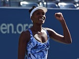 Venus Williams of the US celebrates her win over Kimiko Date-Krumm of Japan during their US Open 2014 women's singles match at the USTA Billie Jean King National Center August 25, 2014