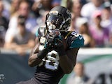 Wide receiver Allen Hurns #88 of the Jacksonville Jaguars catches a touchdown pass in the first quarter against the Philadelphia Eagles on September 7, 2014