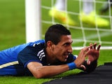 Argentina's midfielder Angel Di Maria celebrates after scoring during a friendly football match between Germany vs Argentina in Duesseldorf, Germany, on September 3, 2014