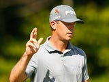 Billy Horschel celebrates his putt on the seventh hole during the final round of the Deutsche Bank Championship at the TPC Boston on September 1, 2014