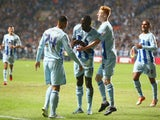 Frank Nouble of Coventry City celebrates scoring the first goal during the Sky Bet League One match between Coventry City and Gillingham at Ricoh Arena on September 5, 2014